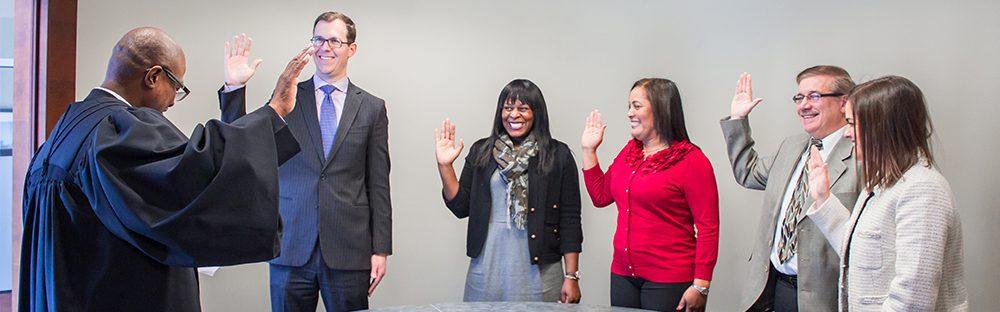 Distinctive College Prep board members swearing-in ceremony.