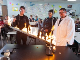 Students in chemistry classroom