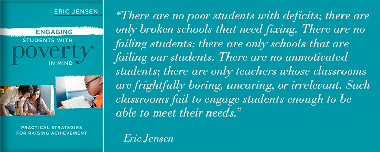 Photo of the book Engaging Students with Poverty in Mind by Eric Jensen with a quote from the book.