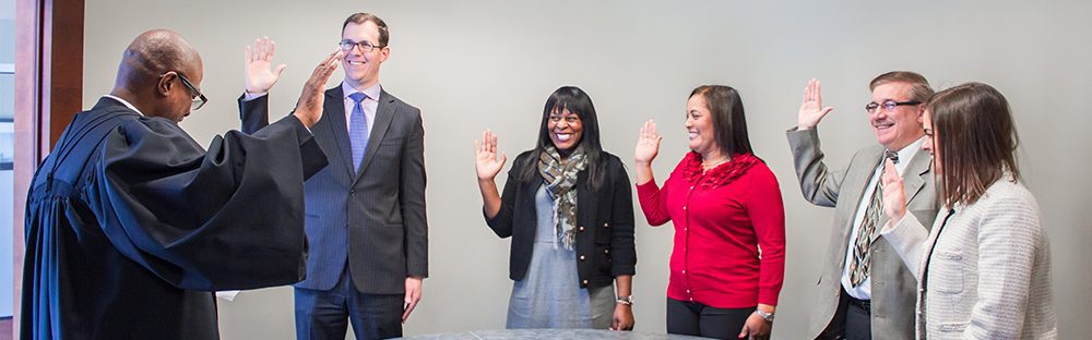 Distinctive College Prep board members swearing-in ceremony.